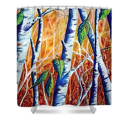 Autumn Birch Shower Curtain