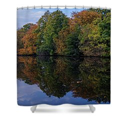 Shower Curtain featuring the photograph Autumn By The Pond by RKAB Works