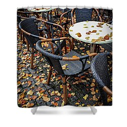 Shower Curtain featuring the photograph Autumn Cafe by Elena Elisseeva