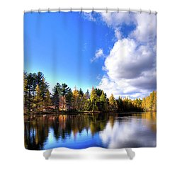 Shower Curtain featuring the photograph Autumn Calm At Woodcraft Camp by David Patterson