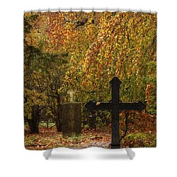 Shower Curtain featuring the photograph Autumn Cemetary by Inge Riis McDonald