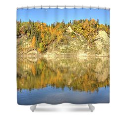 Autumn Colors On The North Saskatchewan River Shower Curtain by Jim Sauchyn