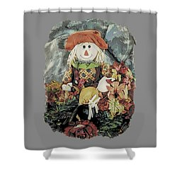 Shower Curtain featuring the digital art Autumn Country Scarecrow by Kathy Kelly