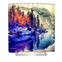 Autumn Day On The Lake. Shower Curtain