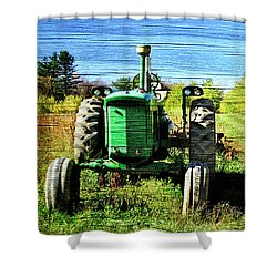 Autumn Deere With Wood Grain Shower Curtain