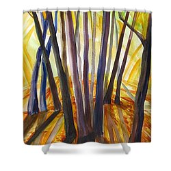 Shower Curtain featuring the painting Autumn Design by Anna  Duyunova