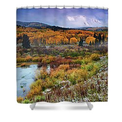 Autumn Dusting Shower Curtain by John De Bord