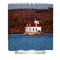 Autumn Evening At Esopus Lighthouse Shower Curtain by Jeff Severson