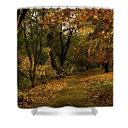 Autumn / Fall By The River Ness Shower Curtain by Jacqi Elmslie