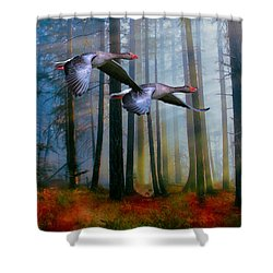 Autumn Flight Shower Curtain by Diane Schuster