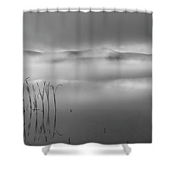 Shower Curtain featuring the photograph Autumn Fog Black And White by Bill Wakeley