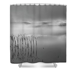 Shower Curtain featuring the photograph Autumn Fog Black And White Square by Bill Wakeley
