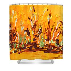 Shower Curtain featuring the painting Autumn Garden by Holly Carmichael