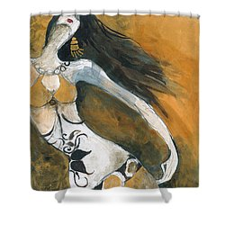 Shower Curtain featuring the painting Autumn Golds by Maya Manolova
