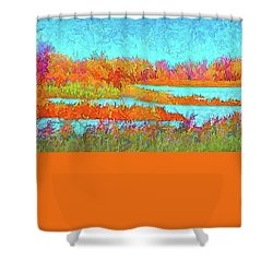 Shower Curtain featuring the digital art Autumn Grassy Meadow With Floating Lakes by Joel Bruce Wallach