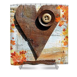 Autumn Heart Shower Curtain by France Laliberte