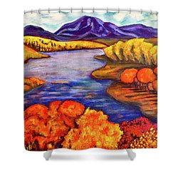 Autumn Hues Shower Curtain by Rae Chichilnitsky