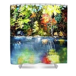 Autumn In Loon Country Shower Curtain by Al Brown