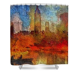 Shower Curtain featuring the painting Autumn In New York by Ted Azriel