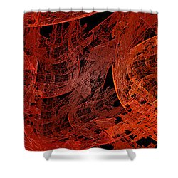 Shower Curtain featuring the digital art Autumn In Space Abstract Pano 1 by Andee Design