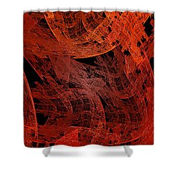 Shower Curtain featuring the digital art Autumn In Space Abstract Pano 2 by Andee Design