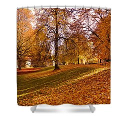 Shower Curtain featuring the photograph Autumn In The City Park Maastricht by Nop Briex