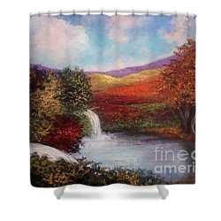 Shower Curtain featuring the painting Autumn In The Garden Of Eden by Randol Burns
