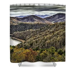 Autumn In The Mountains At Fontana Lake Shower Curtain
