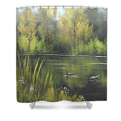 Shower Curtain featuring the mixed media Autumn In The Park by Angela Stout