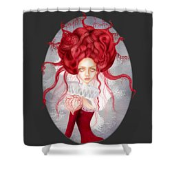 Shower Curtain featuring the drawing Autumn by Julia Art