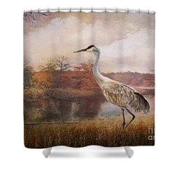 Autumn Lake Crane Shower Curtain