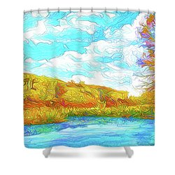 Autumn Lake Reflections - Park In Boulder County Colorado Shower Curtain