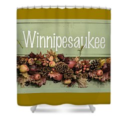 Shower Curtain featuring the photograph Autumn Lake Winnipesaukee Sign Fall by Betty Denise