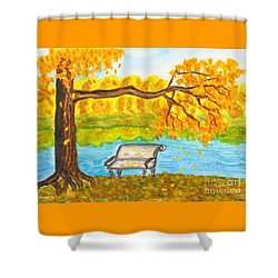 Autumn Landscape With Tree And Bench, Painting Shower Curtain