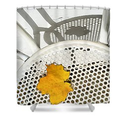 Shower Curtain featuring the photograph Autumn Leaf And Shadows by Gary Slawsky