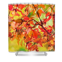 Shower Curtain featuring the digital art Autumn Leaves by Christina Lihani