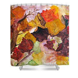 Autumn Leaves In The Wind Shower Curtain by Sandy McIntire