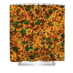 Shower Curtain featuring the digital art Autumn Leaves Pattern by Methune Hively