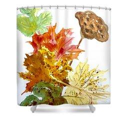 Autumn Leaves Still Life Shower Curtain by Ellen Levinson