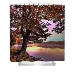 Autumn Leaves Tree At Blue Ridge Lake Shower Curtain by Dan Carmichael