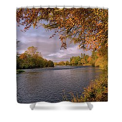 Shower Curtain featuring the photograph Autumn Light By The River Ness by Jacqi Elmslie