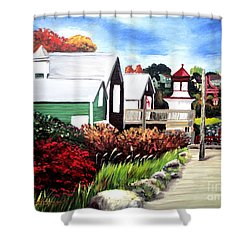 Shower Curtain featuring the painting Autumn Lighthouse Miramichi New Brunswick Canada by Patricia L Davidson