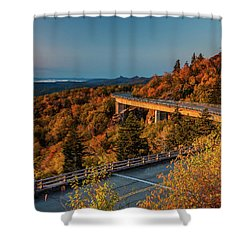 Morning Sun Light - Autumn Linn Cove Viaduct Fall Foliage Shower Curtain
