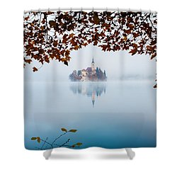 Autumn Mist Over Lake Bled Shower Curtain by Ian Middleton