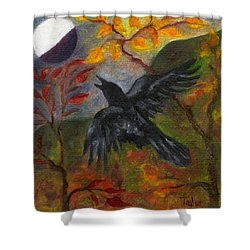 Autumn Moon Raven Shower Curtain