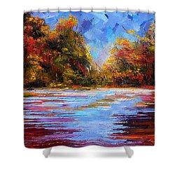 Autumn Morning Shower Curtain by Debra Hurd