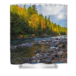 Autumn Morning Light On The Snoqualmie Shower Curtain by Ken Stanback