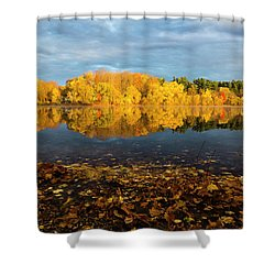 Autumn Morning Reflection On Lake Pentucket Shower Curtain