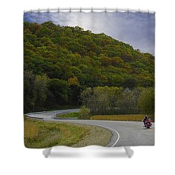 Autumn Motorcycle Rider / Red Shower Curtain