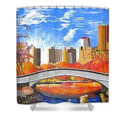 Autumn Oasis Shower Curtain by Donna Blossom